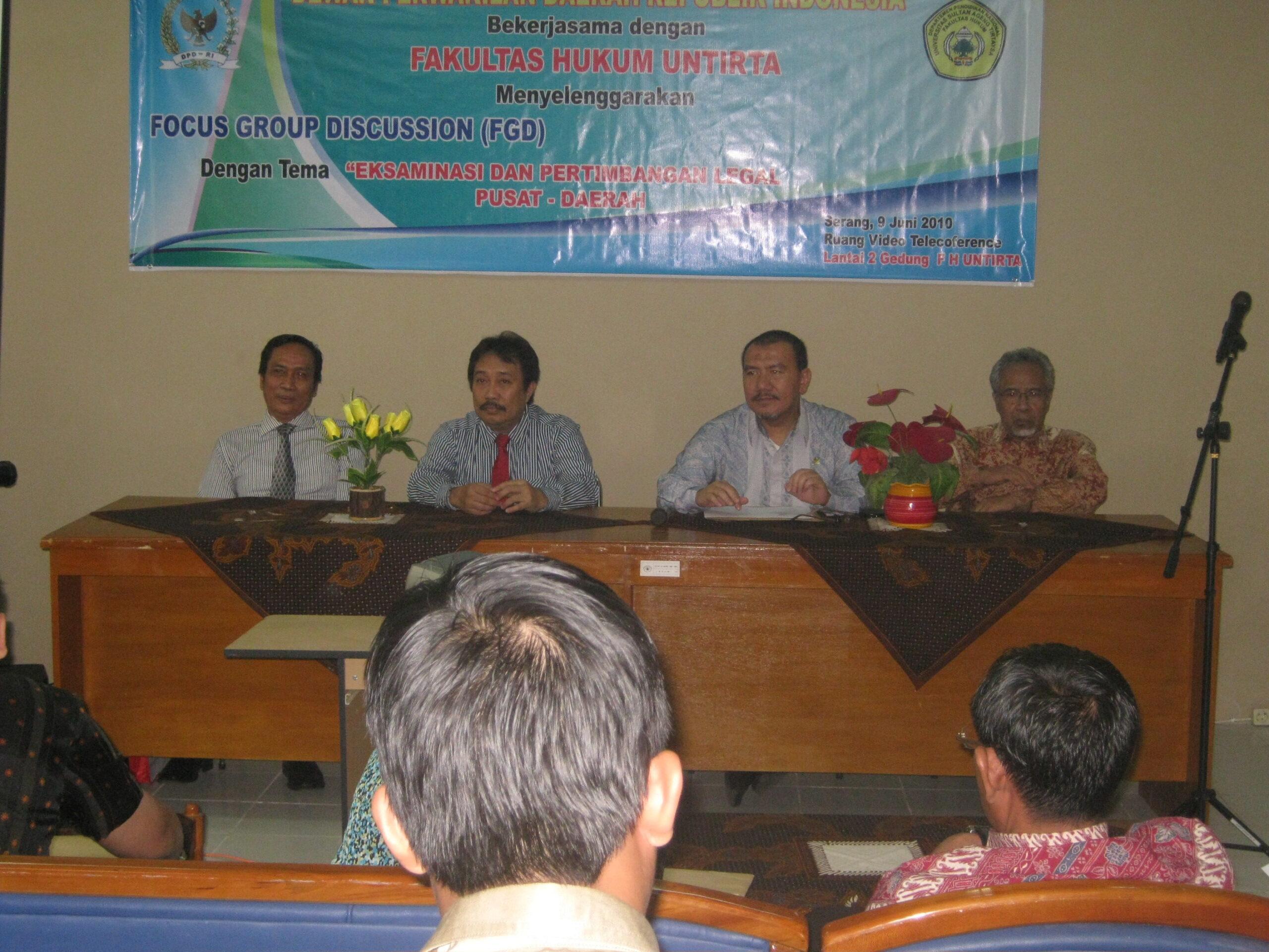 Pembukaan FGD DPD RI dengan FH Untirta 2010