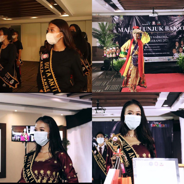 Miftahul Zannah Ariyansyah Mahasiswi FH UNTIRTA Sebagai Peraih Kategori Terfavorit Duta Anti Narkoba Kota Tangerang 2021